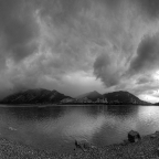 Thunderstorm approaching Lac des Arcs (B&W version) - Version 4